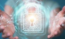 La donna di affari che per mezzo del lucchetto digitale con protezione dei dati 3D si strappa Fotografia Stock Libera da Diritti