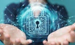 La donna di affari che per mezzo del lucchetto digitale con protezione dei dati 3D si strappa Immagine Stock Libera da Diritti