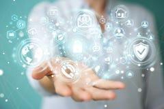 La donna di affari che protegge la sua informazione personale 3D di dati rende Immagine Stock