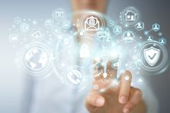 La donna di affari che protegge la sua informazione personale 3D di dati rende Immagine Stock Libera da Diritti