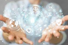 La donna di affari che protegge la sua informazione personale 3D di dati rende Fotografia Stock Libera da Diritti