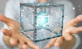La donna di affari che usando il cubo futuristico ha strutturato la rappresentazione dell'oggetto 3D Fotografia Stock Libera da Diritti