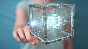 La donna di affari che usando il cubo futuristico ha strutturato la rappresentazione dell'oggetto 3D Fotografie Stock Libere da Diritti