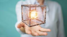 La donna di affari che usando il cubo futuristico ha strutturato la rappresentazione dell'oggetto 3D Fotografia Stock