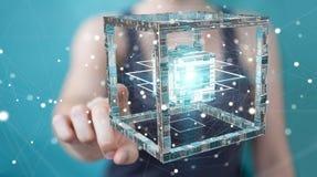 La donna di affari che usando il cubo futuristico ha strutturato la rappresentazione dell'oggetto 3D Fotografie Stock
