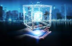 La donna di affari che usando il cubo futuristico ha strutturato la rappresentazione dell'oggetto 3D Immagini Stock