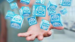 La donna di affari che usando il cubo di galleggiamento invia con la posta elettronica la rappresentazione 3D Immagine Stock