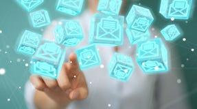 La donna di affari che usando il cubo di galleggiamento invia con la posta elettronica la rappresentazione 3D Fotografie Stock Libere da Diritti