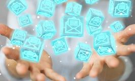 La donna di affari che usando il cubo di galleggiamento invia con la posta elettronica la rappresentazione 3D Fotografie Stock