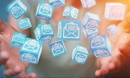 La donna di affari che usando il cubo di galleggiamento invia con la posta elettronica la rappresentazione 3D Immagini Stock Libere da Diritti