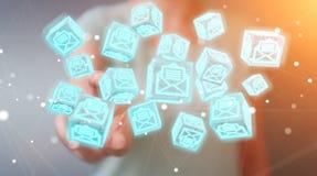 La donna di affari che usando il cubo di galleggiamento invia con la posta elettronica la rappresentazione 3D Immagini Stock