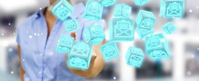 La donna di affari che usando il cubo di galleggiamento invia con la posta elettronica la rappresentazione 3D Immagine Stock Libera da Diritti