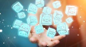 La donna di affari che usando il cubo di galleggiamento invia con la posta elettronica la rappresentazione 3D Fotografia Stock Libera da Diritti