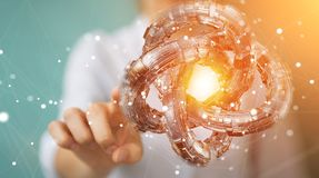 La donna di affari che usando il toro futuristico ha strutturato il renderin dell'oggetto 3D Immagini Stock Libere da Diritti