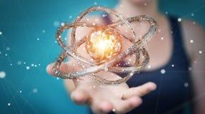 La donna di affari che usando il toro futuristico ha strutturato il renderin dell'oggetto 3D Fotografie Stock