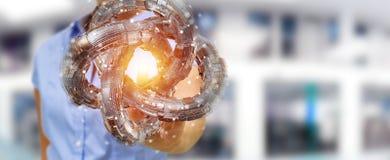 La donna di affari che usando il toro futuristico ha strutturato il renderin dell'oggetto 3D Fotografie Stock Libere da Diritti
