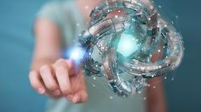 La donna di affari che usando il toro futuristico ha strutturato il renderin dell'oggetto 3D Immagini Stock