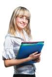 La donna di affari con i dispositivi di piegatura Fotografie Stock Libere da Diritti