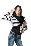 La donna di affari con i documenti fotografie stock libere da diritti