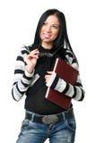 La donna di affari con i documenti fotografia stock libera da diritti