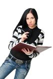 La donna di affari con i documenti fotografia stock