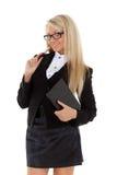 Donna di affari con il ceppo e la penna quotidiani. Immagini Stock Libere da Diritti