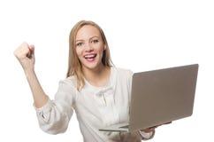 La donna di affari con il computer portatile nel concetto di affari Fotografie Stock Libere da Diritti