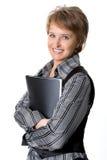 La donna di affari con un dispositivo di piegatura per i documenti Immagine Stock Libera da Diritti