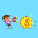 La donna di affari del fumetto che per mezzo di un magnete attira la grande moneta dei soldi Immagini Stock Libere da Diritti