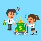 La donna di affari del fumetto che spingono il carrello dei soldi e l'uomo d'affari che tiene i piccoli soldi insaccano Fotografia Stock Libera da Diritti