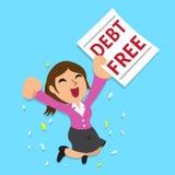 La donna di affari del fumetto con il debito libera la lettera Fotografie Stock Libere da Diritti