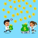 La donna di affari del fumetto guadagna più soldi che l'uomo d'affari in carrello Fotografia Stock