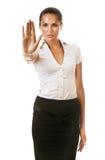 La donna di affari dice di fermarsi Fotografia Stock Libera da Diritti