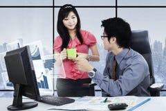 La donna di affari discute le statistiche finanziarie con il partner Fotografia Stock