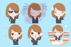La donna di affari fa l'emozione differente royalty illustrazione gratis
