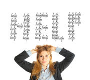 La donna di affari ha bisogno di un aiuto Fotografie Stock