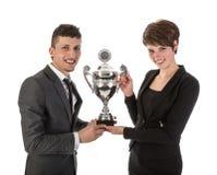 La donna di affari ha vinto un trofeo Immagini Stock Libere da Diritti