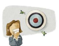 La donna di affari manca l'obiettivo Immagine Stock Libera da Diritti