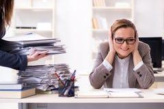 La donna di affari molto occupata con lavoro di ufficio in corso Fotografie Stock