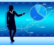 La donna di affari mostra il diagramma Fotografie Stock Libere da Diritti
