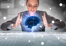La donna di affari nel concetto di intelligenza artificiale Fotografie Stock Libere da Diritti