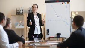 La donna di affari parla ai loro impiegati nell'ufficio, mostra il programma di lavoro più vicino archivi video