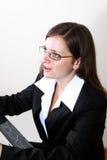 La donna di affari parla fino al cliente Immagini Stock