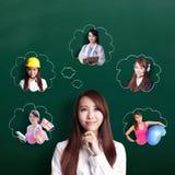 La donna di affari pensa il futuro Immagini Stock