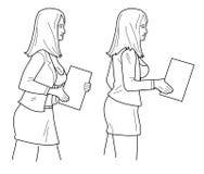 La donna di affari porta la carta Illustrazione nera isolata su fondo bianco Immagine Stock Libera da Diritti