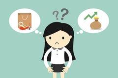 La donna di affari ritiene attaccata fra due scelte illustrazione vettoriale