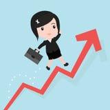 La donna di affari salta sopra il grafico crescente, fumetto Immagini Stock Libere da Diritti