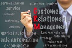 La donna di affari scrive il concetto di relazione del customer relationship management (CRM) Fotografia Stock Libera da Diritti