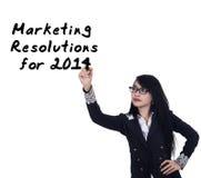 La donna di affari scrive le risoluzioni di vendita Fotografia Stock Libera da Diritti