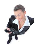La donna di affari sta chiamando con un telefono mobile fotografia stock libera da diritti